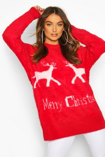Red Oversized Fluffy Knit Merry Christmas Jumper