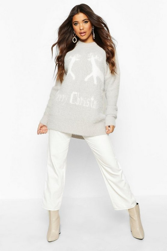 Silver grey Oversized Fluffy Knit Merry Christmas Jumper
