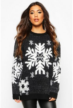Womens Black Premium Feather Knit Snowflake Christmas Jumper