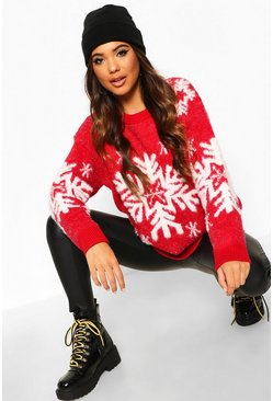 Red Premium Snowflake Fluffy Christmas Jumper
