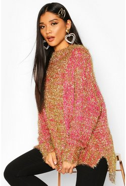 Pink Oversized Tinsel Jumper