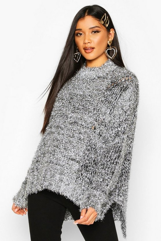 Silver Oversized Tinsel Jumper