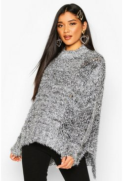 Womens Silver Oversized Tinsel Jumper