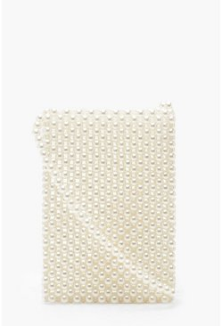 Dam White Cross Body Pearl Bag