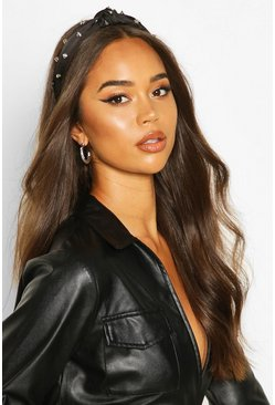 Dam Black Studded Twist Knot Headband