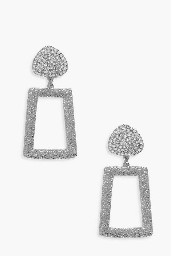 Diamante Textured Metal Drop Earrings