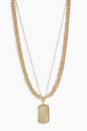 Womens Gold Tag And Chunky Chain Necklace
