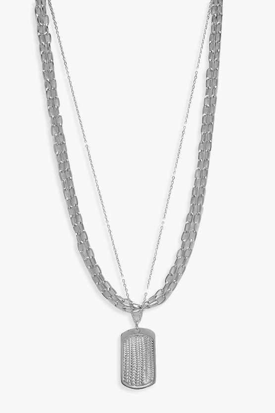 Womens Silver Tag And Chunky Chain Necklace