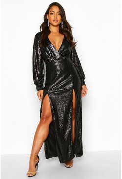 Womens Black Sequin Wrap Double Split Maxi Dress