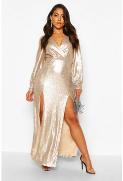 Nude Sequin Wrap Double Split Maxi Dress