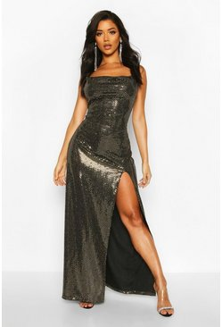 Gold Sequin Cowl Neck High Split Maxi Dress