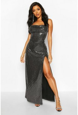 Silver Sequin Cowl Neck High Split Maxi Dress