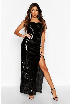 Womens Black Sequin Cupped Rouche Split Maxi Dress