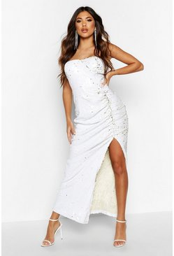 White Sequin Cupped Rouche Split Maxi Dress