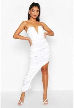 White Woven Plunge Rouche Hem Maxi Dress
