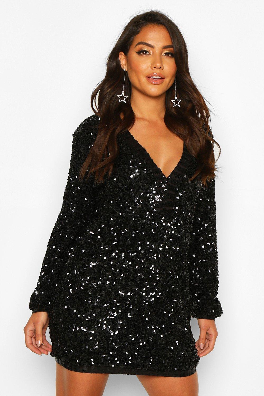 70s Sequin Dresses, Disco Dresses Womens Sequin Plunge Oversized Shift Dress - Black - 12 $40.00 AT vintagedancer.com