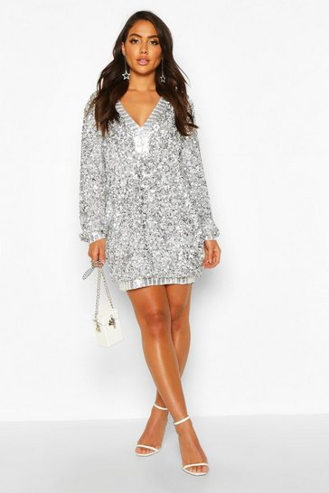 Womens Silver Sequin Plunge Oversized Shift Dress