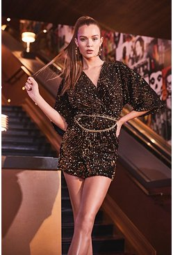 Womens Black Velvet Sequin Knot Front Shift Dress