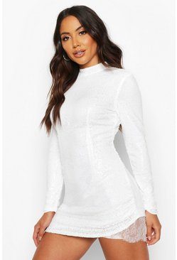 White Sequin High Neck Lace Insert Mini