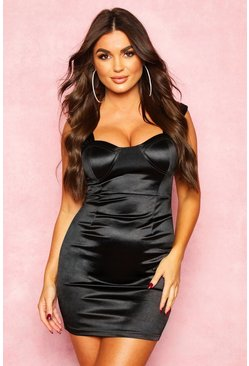 Dam Black Stretch Satin Pleat Cupped Bardot Mini Dress