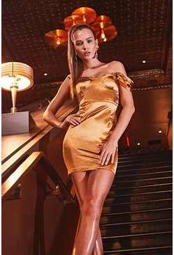 Womens Gold Stretch Satin Pleat Cupped Bardot Mini Dress