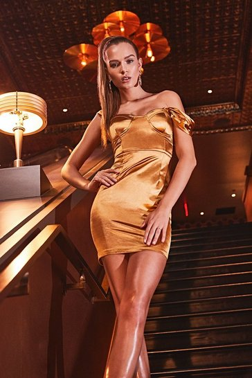 Gold Stretch Satin Pleat Cupped Bardot Mini Dress