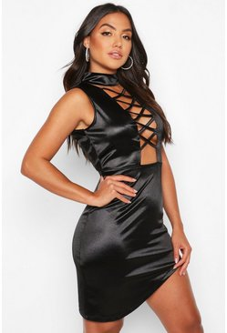 Womens Black Satin High Neck Cross Detail Mini Dress