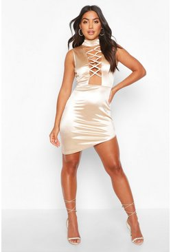 Champagne Satin High Neck Cross Detail Mini Dress