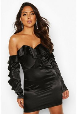 Black Satin Full Ruffle Mini Dress