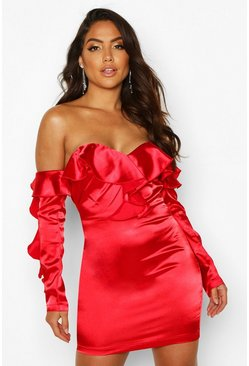 Red Satin Full Ruffle Mini Dress