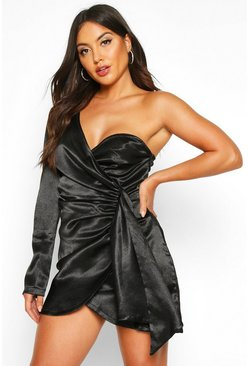 Black Satin One Shoulder Cup Detail Mini Dress