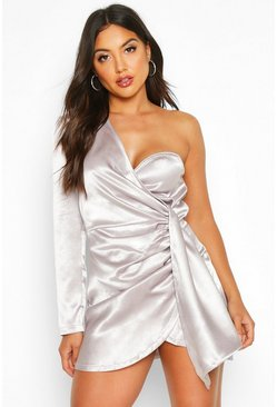 Silver Satin One Shoulder Cup Detail Mini Dress