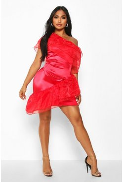 Womens Red Stretch Satin Mesh Extreme Ruffle