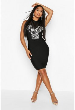 Womens Black Boutique Bandage Jewel Front Mini Dress