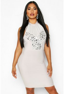 Womens Silver Boutique Bandage Jewel Front Mini Dress