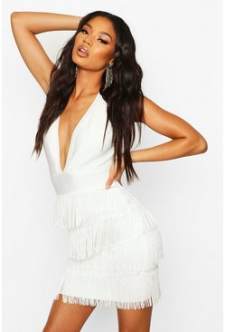 Dam White Boutique Bandage Fringe Bottom Mini Dress
