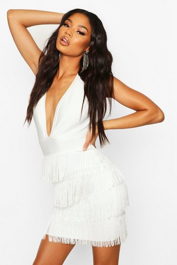 Womens White Boutique Bandage Fringe Bottom Mini Dress