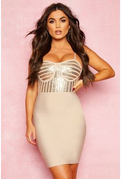 Stone Boutique Bandage Sequin Cupped Detail Mini Dress