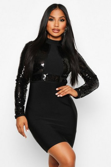 Black Boutique Bandage High Neck Sequin Mini Dress