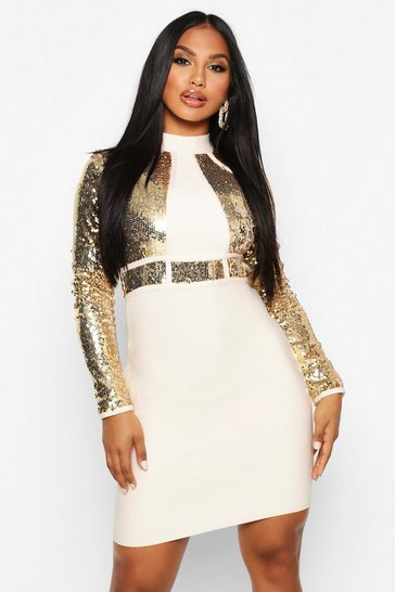 Womens Champagne Boutique Bandage High Neck Sequin Mini Dress