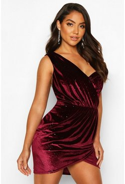 Burgundy Sparkle Velvet Off Shoulder Drape Mini Dress