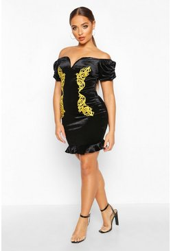 Black Velvet Plunge Gold Trim Off The Shoulder Mini