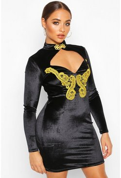 Black Velvet Gold Trim Mandarin Collar Mini Dress