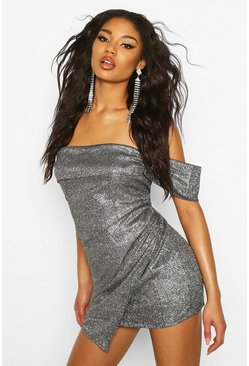 Dam Black Glitter Sequin Bardot Panel Mini Dress