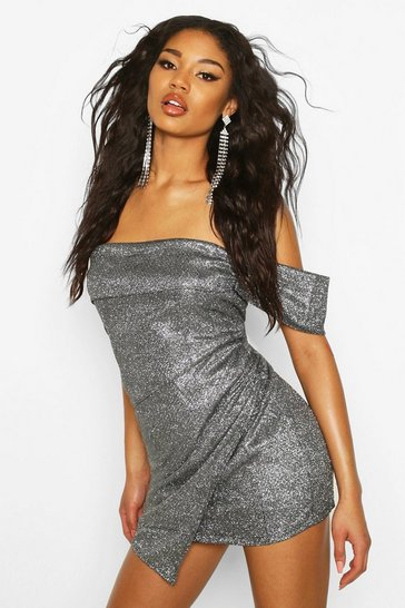 Black Glitter Sequin Bardot Panel Mini Dress