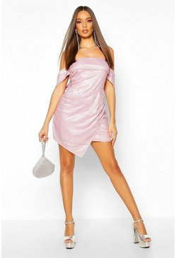Womens Pink Glitter Sequin Bardot Panel Mini Dress