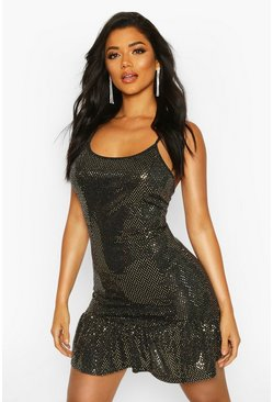 Gold Drop Hem All Over Sequin Mini Dress
