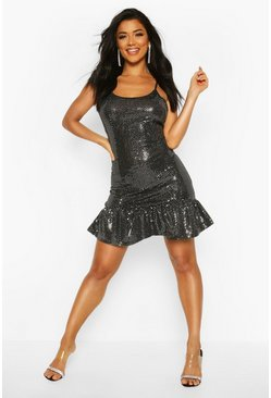 Womens Silver Drop Hem All Over Sequin Mini Dress