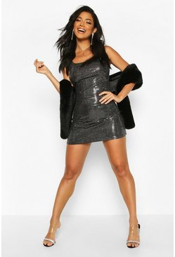 Womens Silver All Over Sequin Square Neck Shift Dress
