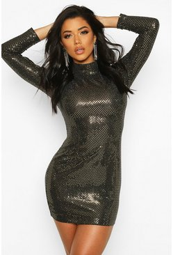 Womens Gold High Neck All Over Sequin Bodycon Mini Dress